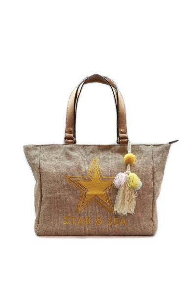 Beachbag Jute Geel