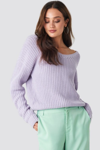 Sarah V Neck Knit Lila