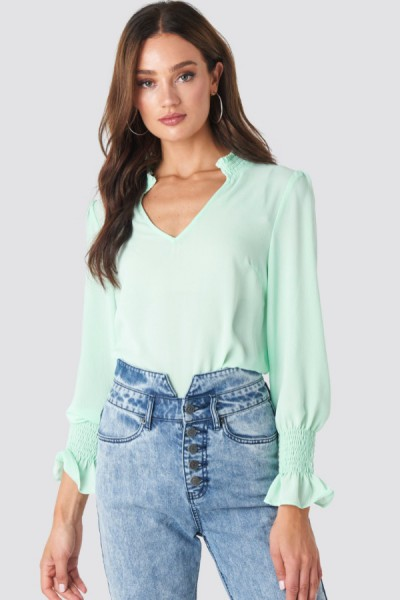Anna Smock Blouse Mint Green