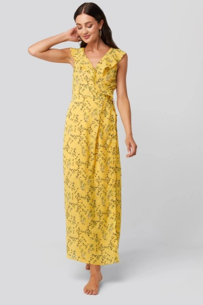 Serina Maxi Jurk Yellow Flower