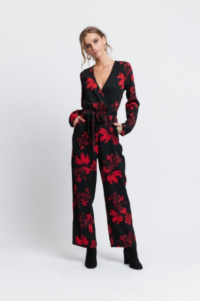 Alma Jumpsuit Red Flower